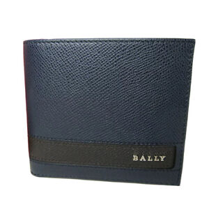 M-271947 New Bally Navy Blue and Brown Stripe Pebble Leather Bifold Wallet