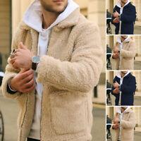 Men Fluffy Fleece Coat Winter Warm Sweater Zip Up Jackets Comber Coat Jacket Top