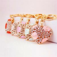 Crystal Keyring Heart Women Keychain Charm Handbag Purse Pendant Car Key Chain