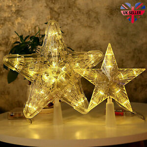 Xmas Ornament Christmas Tree Topper LED Light Up Star Tree Home Party Decor UK