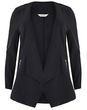 Emily for Simply Be Navy Blue Waterfall Zip Plus Size Jacket 16 - 28