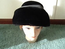 Vintage retro mod black velvet hat with grosgrain ribbon bow church lady