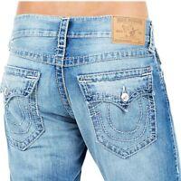 True Religion Men's Big T Straight Jeans w/ Flap Pockets in Emerald Soft Story
