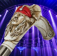 Cane Pirate Head Simulated Carved Ivory Red Bandanna Silver Doubloons Larping