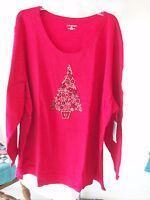 Catherines Plus Size Blouse/Knit Top w/Beaded Christmas Tree NWT