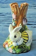 """Fitz & Floyd Collectible 5 1/2"""" Vase """"Easter Bunny with Painted Eggs"""" 1996 Great"""