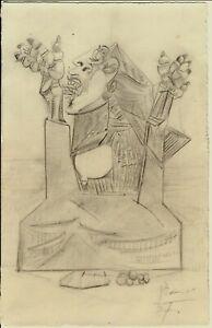 Picasso crayon(graphite) sketch on paper - woman - original signed no repro