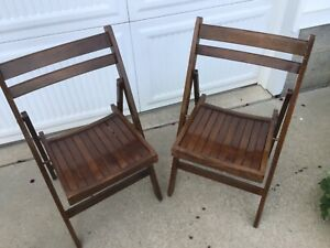 2 Vintage Wooden Folding Chairs Made In Romania 1960's Wood Slat Seat