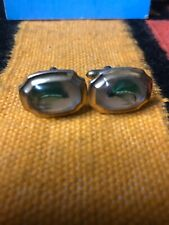 """Vintage Fly fishing cufflinks fly inset in clear plastic """"Correct Quality"""""""