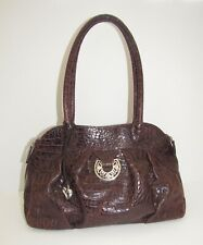 Brighton Brown Croc Embossed Leather Pleated Shoulder Bag Purse