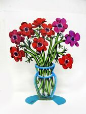 David Gerstein Metal Modern Art Sculpture Poppies Vase Flower Sculpture -2 sides