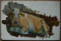 Russian Ukrainian Soviet oil painting impressionism cow