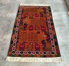 Handmade Vintage  Afghan 3 Lion animals Rug  Baluchi Wool Pictorial Rug 140x83