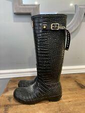 Jimmy Choo x Hunter Black Croc Embossed Rubber Rain Boots - Size 8