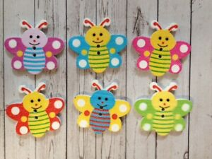 10 Wooden Bee Buttons Sewing Card Making Scrapbook Craft Embellishments