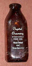 OLD CRYSTAL CREAMERY BARTLESVILLE OKLAHOMA AMBER GLASS MILK BOTTLE TOP HAND VTG