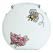 Hell Bunny Bee Bee Blue Floral Retro Vintage Round Vanity Shoulder Handbag