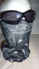 tour de cou, tube cagoule,masque,style bandana noir,moto, ski, paintball,airsoft
