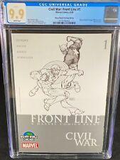 Civil War: Front Line #1 CGC 9.9 2006 Captain America Iron Man Sketch Cover A338