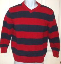 Boys GAP KIDS~Blue RED STRIPED V-Neck SWEATER~size 12 XL NEW~Knit Pullover