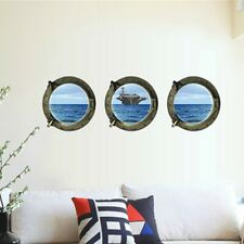 3PCS/Set 3D View Space Ship Window Home Decor Removable Wall Sticker Art Mural
