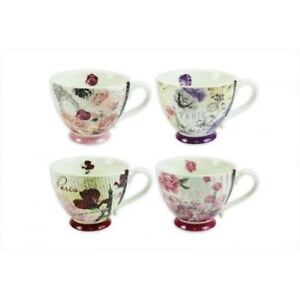 New Bone China Mugs Set of 4 Paris Design Tea Coffee Home Kitchen Office Cups