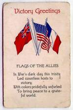 Victory Greetings World War 1 Allies Flags *OLD EARLY*