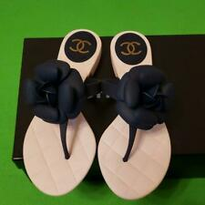 Auth CHANEL CC Camellia Flat Thong Sandals Pink/Navy Size36 New from Japan F/S