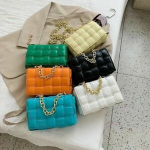 Women Crossbody Bag Weave Flap Bags  Quality Leather Thick Chain Shoulder  Femal