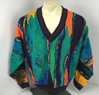 RARE 90s Vtg COOGI Australia NEON-BIGGIE-MCGREGOR sweater L VAPORWAVE V-NECK