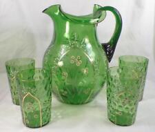 Antique Water Set Pitcher 3 Tumblers Green Blown Glass Enamel Flowers Victorian