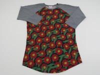 LuLaRoe LLR Red Gray Floral Randy T Shirt Womens Medium Baseball Flower Top Tee