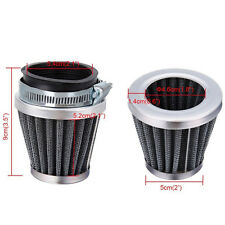 Motorcycle 54mm Tapered Chrome Pod Air Intake Air Filters Clean+Hose Clamp Handy