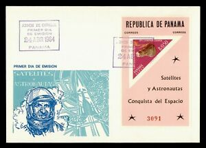 DR WHO 1964 PANAMA FDC SPACE CACHET S/S IMPERF TRIANGLE  g21847
