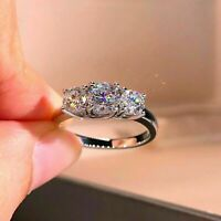 14K White Gold Over 2.30 CT Round cut Moissanite 3-Stone Wedding Band Ring