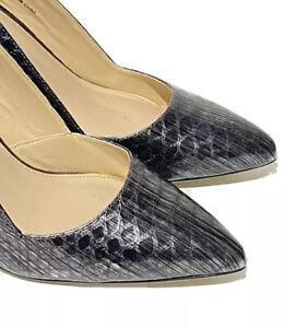 Jasper Conran Ladies Court Shoes UK 4 Silver Grey Snake Skin High Heel Leather