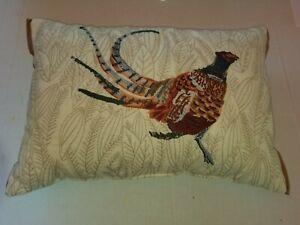 """Needlepoint Pheasant Throw Pillow 13""""×19"""""""