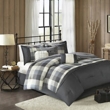 BEAUTIFUL COZY CLASSIC GREY WHITE STRIPE CASUAL PLAID MODERN SOFT COMFORTER SET