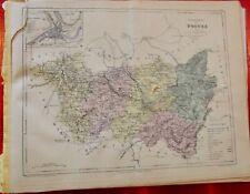 Old Map 1900 France Département Vosges plan Épinal st Die Coussey carte déchirée
