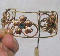 Vintage Jewelry Harper Gold Filled Floral Bangle Bracelet With Original Hang Tag