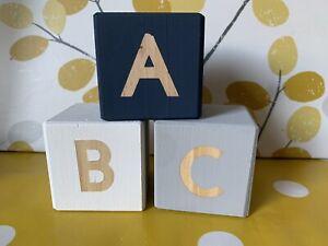 Wooden ABC Blocks, Wooden 5cm Blocks, Nursery Decor, New Baby Girl Boy Gift