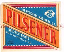 1960s GUATEMALA Quezaltenango Nacional Pilsener Beer label