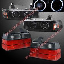92-98 BMW E36 3-SERIES 4DR SEDAN HALO PROJECTOR HEADLIGHTS BLACK + TAIL LIGHTS
