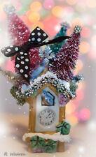 Vintage Kitsch BIRDS Christmas Winter Wall Pocket w/ Rhinestones BottleBrush