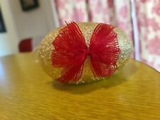 Vintage West Germany Paper Mache Gold Tin Foil Candy Container Easter Egg Bow