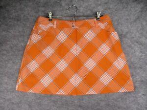 Slazenger Skirt Womens 10 Orange Plaid Pockets Athletic Golf Tennis Active EUC