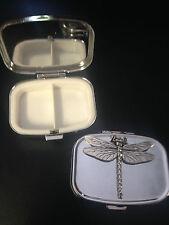 Dragonfly C3 English Pewter Emblem on a Rectangular Travel Metal Pill Box