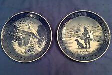 Royal Copenhagen 1976 & 1977 Blue Christmas Plates