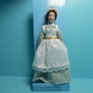 Dollhouse Miniature Porcelain Victorian Maid Doll with Green Striped Dress G7619