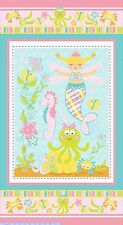 Magical Mermaid Juvenile Quilt top Panel Fabric 100% Cotton by Lollipop Rainbow